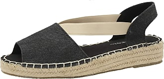 Dunlop DLC133 Minna Ladies Open Toe, Classic Espadrilles Low Wedge Heel (Black, Numeric_4)
