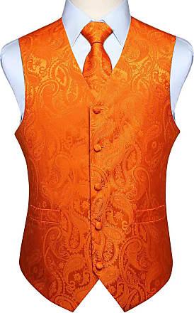 Hisdern Hisdern Mens Paisley Wedding Party Waistcoat Necktie Pocket Square Handkerchief Jacquard Vest Suit Set, Orange, 2XL(Chest size 51 inch)