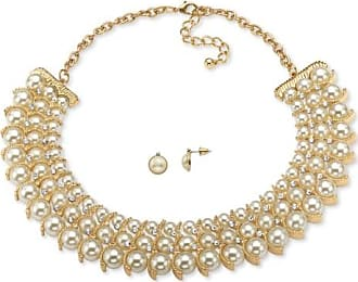 PalmBeach Jewelry Simulated Pearl and Crystal Necklace and Stud Earrings Two-Piece Set in Gold Tone 17-19