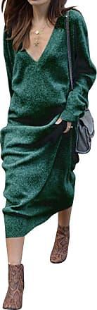 Dresswel Women Deep V Neck Long Sleeve Knitted Maxi Dress Ladies Jumper Dress Sweater Dress Knitwear Green