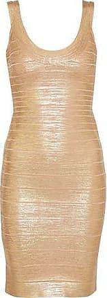 38b340f1c03 Hérve Léger Hervé Léger Woman Catherine Metallic Coated Bandage Mini Dress  Gold Size M