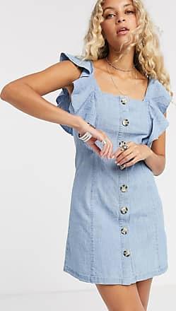 Topshop denim ruffle mini dress in mid wash-Blue