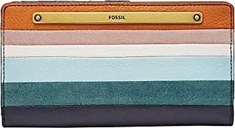 Fossil Womens Liza Striped Leather Slim Bifold Wallet