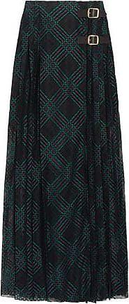 Philosophy di Lorenzo Serafini Philosophy Di Lorenzo Serafini Woman Leather-trimmed Pleated Lace Wrap Maxi Skirt Black Size 40