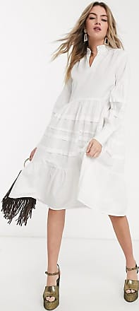 Object poplin smock dress with oversized sleeves in white-Brown