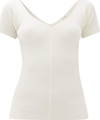 The Row Tain Ribbed Wool-blend Top - Womens - Ivory