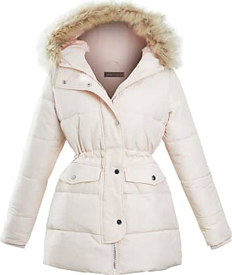 Shelikes Womens Ladies Quilted Longline Winter Pink Faux Fur Hooded Jacket Coat [Pink 12]