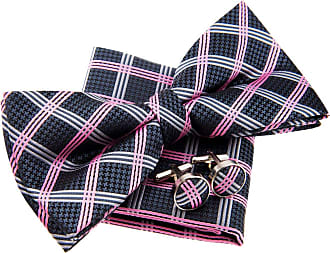 Retreez Elegant Vintage Plaid Check Woven Microfiber Pre-tied Bow Tie (Width: 5) with matching Pocket Square and Cufflinks, Gift Box Set as a Christmas Gift,