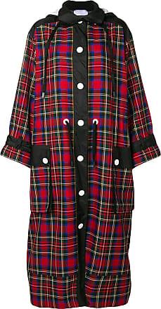 No Ka'Oi long hooded plaid coat - Red