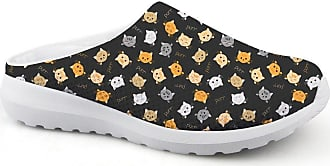 Coloranimal Gym Sports Walking Flats Cartoon Cat Printed Footwear Open Back Shoes US5