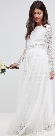 Asos Kanten lange trouwjurk met lange mouwen en crop top-Wit