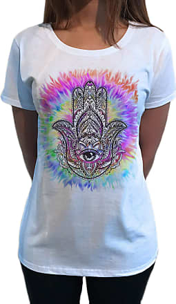Irony Womens Top Chakra Meditation Peace Hamsa Hand of Fatima Eye Palm Tie Dye Print TS1755 White