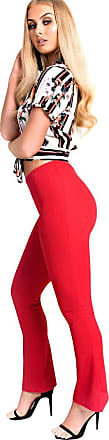 Ikrush Mariana Basic Ribbed Stretch Flare Trousers RED UK 10