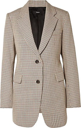 Theory Houndstooth Cotton And Wool-blend Blazer - Gray