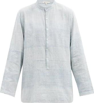 11.11 / eleven eleven 11.11 / Eleven Eleven - Band-collar Cotton-canvas Shirt - Mens - Light Blue