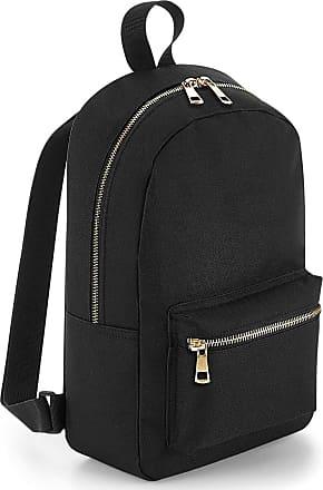BagBase Metallic Zip Mini Backpack - Gold or Silver Zipper - Black/Gold