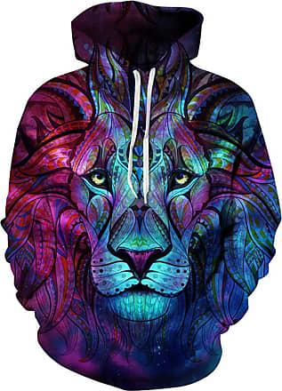 Ocean Plus Mens Hoodie 3D Graphic Hoodie with Kangaroo Pocket Hoody Sweat Hood Sweatshirts (L/XL (Chest: 114-134CM), Totem Lion)