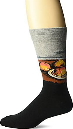Hot Sox Mens Famous Artist Series Novelty Crew Socks, Still Life Plate and Fruit (Grey), Shoe Size: 6-12