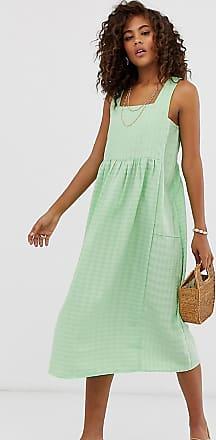 Asos Tall ASOS DESIGN Tall - Knielanges Sommer-Hängerkleid mit eckigem Ausschnitt und Struktur-Grün