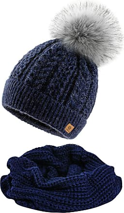 4sold Women Ladies Chunky Soft Cable Knit Hat & Scarf Natural Mohair Wool with Cosy Fleece Liner and Handmade Faux Fur Pompom - Set Atena Navy