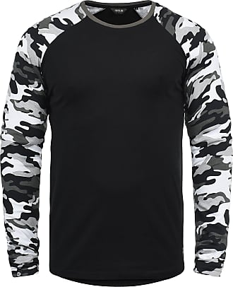 Solid Cajus Mens Camouflage Long Sleeve T-Shirt Top with Crew Neck Made of 100% Cotton with Pattern, Size:XL, Colour:Black Grey (G9000)