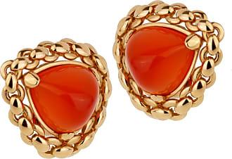 Hermès Vintage Sugarloaf Carnelian 18k Yellow Gold Clip On Earrings