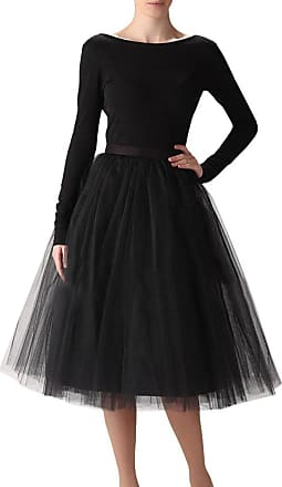Clearbridal Womens 50s Vintage Tulle Petticoat Tutu Skirt Bridal Petticoat Underskirt for Prom Evening Wedding Party 12021 Black