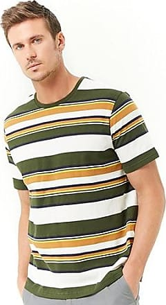 21 Men Block Stripe Tee at Forever 21 White/green