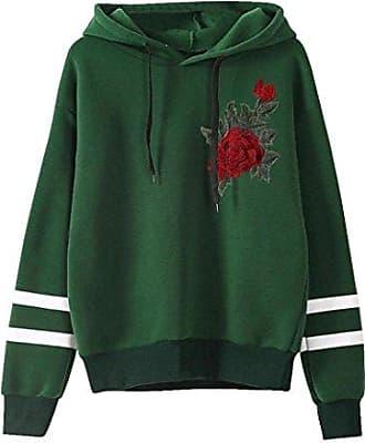 0fcfd1e2ec Kolylong Sweatshirt Damen Frauen Locker Rose Stickerei Langarm Sweatshirt  mit Kapuze Herbst Mode T-Shirt