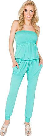 FUTURO FASHION Womens Jumpsuit with Pockets Bandeau Party Playsuit Catsuit Sizes 8-14 1084 Aqua