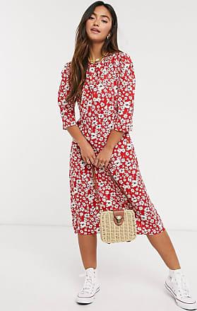 Warehouse – Röd, prickig klänning med omlott och rynkad ärm