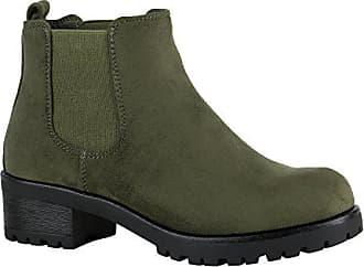 212ae5e96f5564 Stiefelparadies Damen Chelsea Boots Blockabsatz Plateau Stiefeletten  Leder-Optik Schuhe 149629 Dunkelgrün Velours 36 Flandell