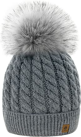 4sold Womens Ladies Beanie Hat Pom Pom Warm Winter Natural Wool Mohair Lining Full Cosy Fleece Liner (Carla Grey)
