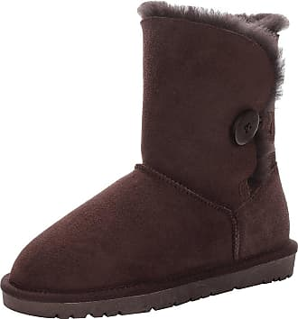 Jamron Women Classy Sheepskin Mid-Calf Snow Boots Warm Shearling Wool Lined Winter Boots with Button Coffee SN021013 UK4