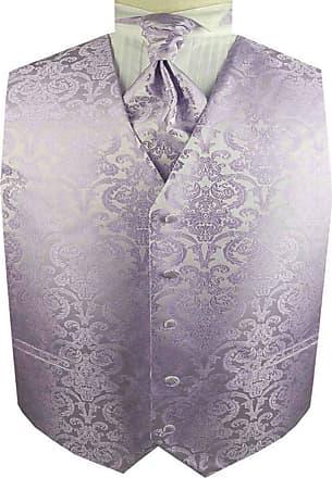 Generic Mens Tuxedo Wedding Paisley Waistcoat&Ascot Tie and Pocket Square (Lavender, 2X)