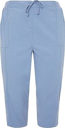 Yours Clothing Clothing Womens Plus Size Cool Cotton Cropped Trousers Size 26-28 Blue