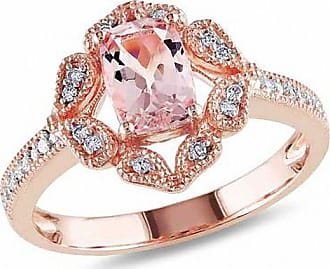 Zales Cushion-Cut Morganite and 1/10 CT. T.w. Diamond Vintage-Style Ring in 10K Rose Gold