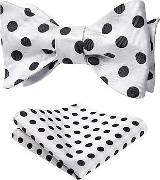 Hisdern Mens Polka Dot Jacquard Self Bow Tie Set One Size White/Black, White / Black, One Size
