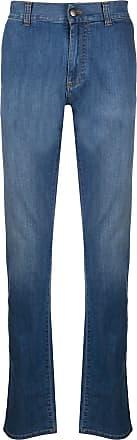 Canali Calça jeans reta cintura média - Azul