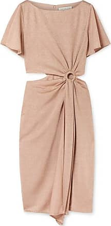 Rachel Zoe Pauline Cutout Gathered Metallic Stretch-knit Dress - Blush
