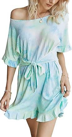 QIYUN.Z Womens Sexy Off Shoulder Short Sleeve Drawstring Waist Jumpsuit Romper Green M