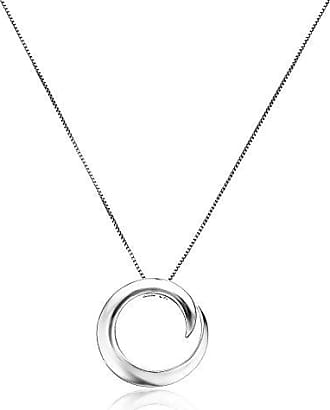 Amazon Collection Sterling Silver A Journey Is Best Measured By Friends Not Miles Circle Pendant Necklace, 18