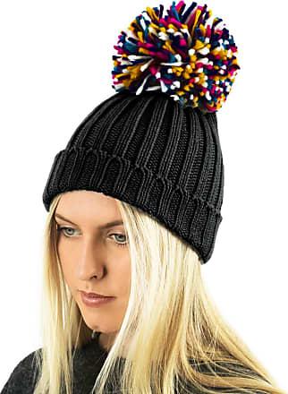 TOSKATOK Ladies Womens Girls Rib Knit Plain Statement Winter Beanie Bobble Hat with Large Multi-Coloured Pom Pom Black