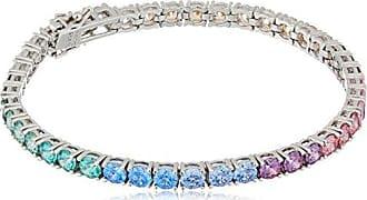 Amazon Collection Platinum-Plated Sterling Silver Round-Cut Swarovski Zirconia Rainbow Tennis Bracelet, 7.25
