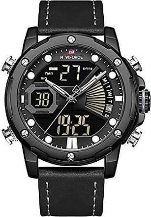 NAVIFORCE Relógio Masculino Naviforce NF9172 BGYB Pulseira em Couro - Preto e Cinza