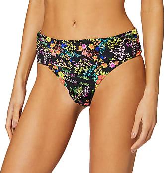 Pour Moi? Womens Hot Spots Fold Over Brief Bikini Bottoms, Black Floral, 14