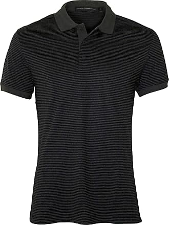 French Connection Pure Cotton Stripe Mens Polo Shirt, Marine Blue/Charcoal X-Large