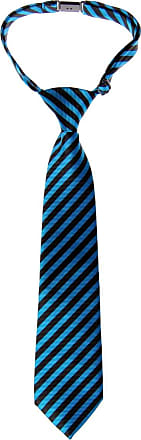 Retreez Striped Woven Pre-tied Boys Tie - Blue and Black Stripe - 4-7 years