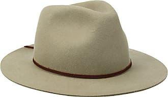 Brixton Mens Wesley Medium Brim Felt Fedora Hat, Khaki, X-Large