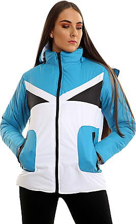 Parsa Fashions Womens Contrast Fancy Quilted Padded Puffer Warm Thick Zipper Jacket Ladies Winter Coat (XL, Turq - White)